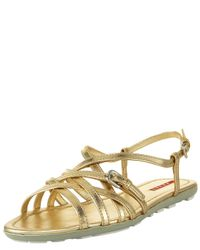 Prada | Metallic Strappy Flat Sandal | Lyst