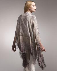 Roberto Cavalli | Natural Crocodile-print Silk Fringe Poncho | Lyst