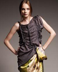 Vera Wang | Gray Ruched Silk Tank | Lyst