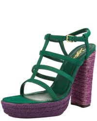 Saint Laurent - Green Tribute Sandal - Lyst