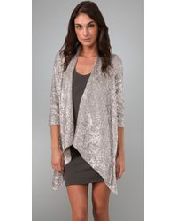 Alice + Olivia | Metallic Steph Sequin Cascade Cardigan | Lyst