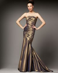 Carmen Marc Valvo | Metallic Ruched Mermaid Gown | Lyst