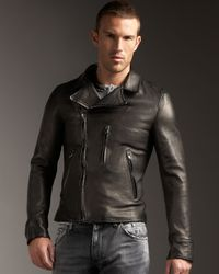Dolce & Gabbana | Black Leather Motorcycle Jacket for Men | Lyst