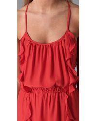 Parker - Orange Solid 2 Ruffle Dress - Lyst