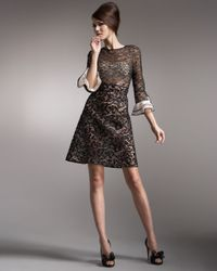 Valentino - Black Tri-lace Voulant-sleeve Dress - Lyst