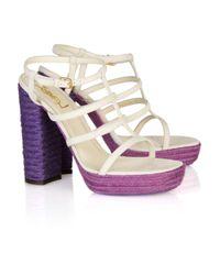 Saint Laurent | Natural Gipsy Suede Block Sandals | Lyst