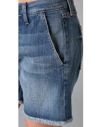 Current/Elliott - Blue Studded Shorts - Lyst