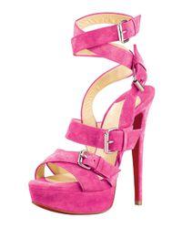 Christian Louboutin | Pink Toutenkaboucle Buckle Sandal | Lyst