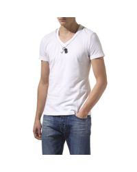 Armani Jeans White Dog Tag T-shirt for men