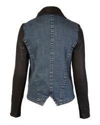 Helmut Lang Blue Leather and Denim Jacket