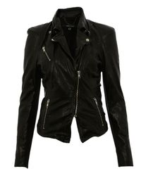 Muubaa | Black Lambs Leather Cion Fitted Biker Jacket | Lyst