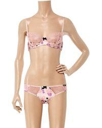 Myla Pink Angelica Floral Silk-blend Balcony Bra