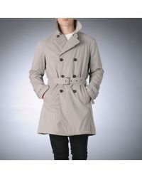 Armani Jeans Gray Belted Trench Coat for men