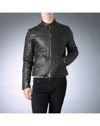 Armani Jeans Brown Leather Biker Jacket for men