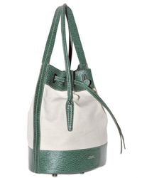 Bally | White Canvas and Textured Leather Shoulder Bag | Lyst