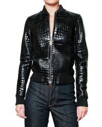 DSquared² | Black Printed Croc Leather Jacket | Lyst