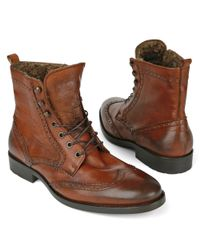 KG by Kurt Geiger Brown Tower Shearling–lined Wingcap Boots for men
