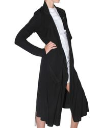 Kimberly Ovitz | Black Rayon Jersey Trench Coat | Lyst