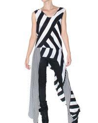 Kimberly Ovitz | Black Draped Striped Silk-georgette Tank | Lyst