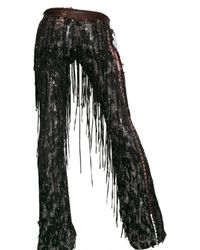 Roberto Cavalli | Brown Fringed Suede and Sequin Leather Trousers | Lyst