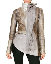 Trosman | Gray Printed Leather Leather Jacket | Lyst