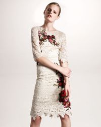 Dolce & Gabbana | Natural Floral-embroidered Lace Dress | Lyst