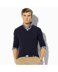Polo Ralph Lauren - Blue Cashmere V-neck Sweater for Men - Lyst