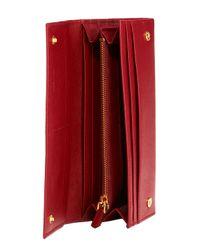 Prada - Red Saffiano Oro Wallet - Lyst