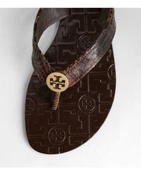 Tory Burch - Brown Amazon Snake Print Thora Sandal - Lyst