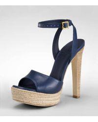 Tory Burch - Blue Leather Bradshaw Sandal - Lyst