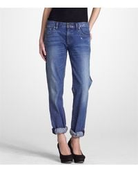 Tory Burch | Blue Tomboy Metallic Brush Jean | Lyst