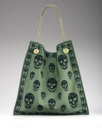 Alexander McQueen - Green Skull-print Canvas Shopper - Lyst