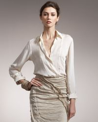 Donna Karan | White Crepe Satin Blouse | Lyst