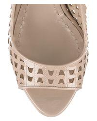 Miu Miu | Natural Perforated Patent-leather Peep-toe Pumps | Lyst