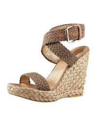 Stuart Weitzman | Natural Crocheted Ankle-wrap Espadrille | Lyst