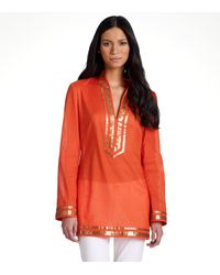 Tory Burch | Metallic Embellished Tory Tunic | Lyst