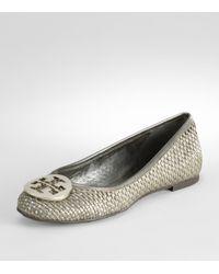 Tory Burch | Gray Metallic Straw Reva Ballerina Flat | Lyst