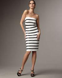 Carmen Marc Valvo   White Strapless Sequin-stripe Dress   Lyst