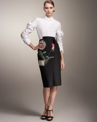 Carolina Herrera - Black Botanical-print Wrap Skirt - Lyst