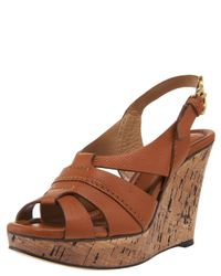 Chloé | Brown Cork Wedge with Slingback | Lyst
