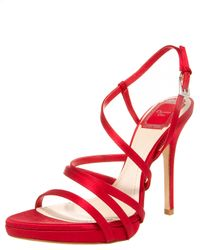 Dior | Red Strappy Satin Sandal | Lyst