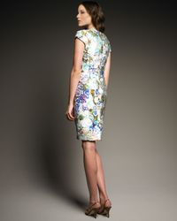 Etro | Multicolor Cap-sleeve Floral Dress | Lyst
