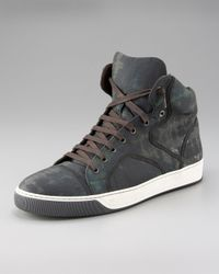 Lanvin | Gray Camouflage High-top for Men | Lyst