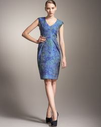 Lela Rose | Blue Matelasse Dress | Lyst