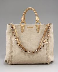 Miu Miu | Natural Jeweled Linen Tote | Lyst