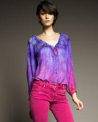 Roberto Cavalli | Purple Ombre Silk Peasant Top | Lyst