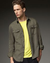 Theory | Green Two-pocket Woven Shirt, Fatigue for Men | Lyst
