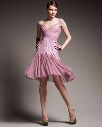 Zac Posen | Purple Seamed Godet Lace Dress | Lyst