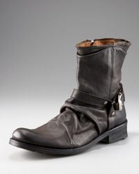John Varvatos | Black Winter Slouch Buckle Boot | Lyst