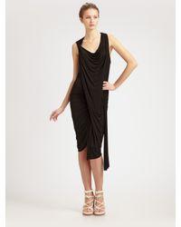 Alexander Wang | Black Cowlneck Goddess Dress | Lyst